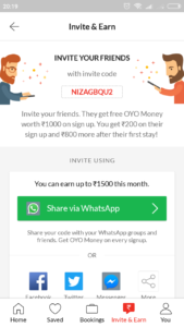Oyo refer and earn money